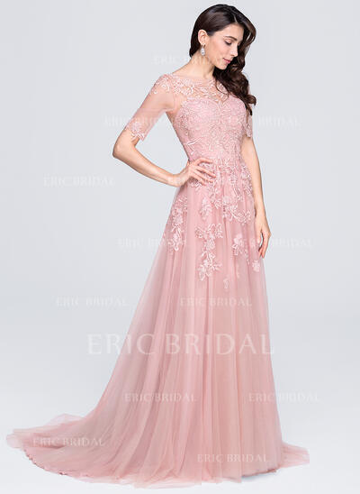 A-Line Scoop Neck Court Train Tulle Evening Dress With Appliques Lace (017071574)