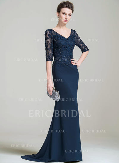 Trumpet/Mermaid V-neck Sweep Train Mother of the Bride Dresses With Beading Appliques Lace Sequins (008074204)