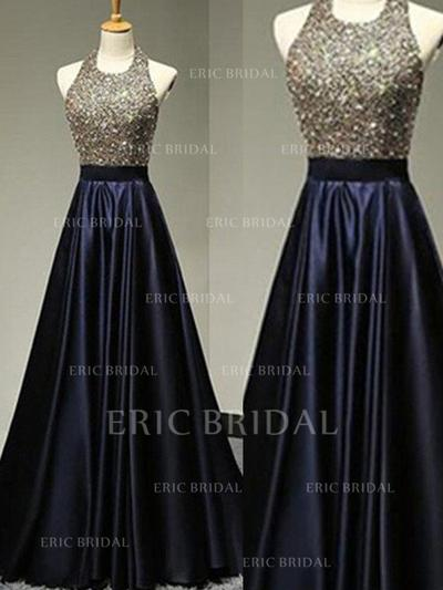 A-Line/Princess Satin Prom Dresses Beading Halter Sleeveless Floor-Length (018210390)