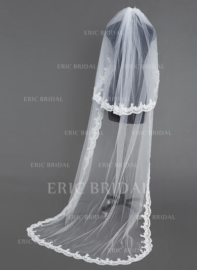 Chapel Bridal Veils Tulle Two-tier Oval/Drop Veil With Lace Applique Edge Wedding Veils (006151070)