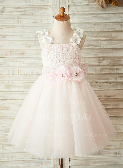 A-Line/Princess Square Neckline Knee-length With Flower(s)/Bow(s)/Rhinestone Tulle/Lace Flower Girl Dresses (010211662)