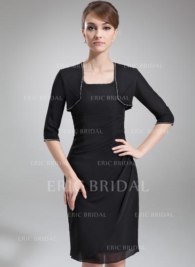Sheath/Column Chiffon Sleeveless Square Neckline Knee-Length Zipper Up Mother of the Bride Dresses (008211233)