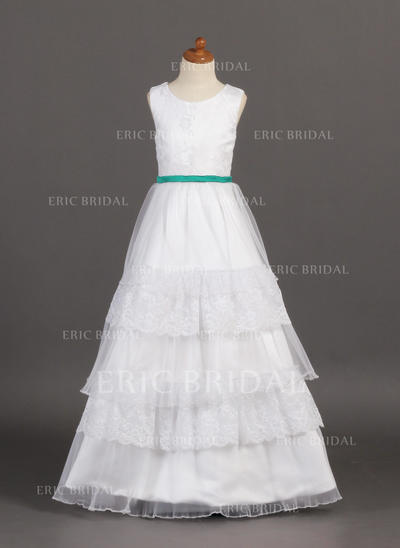 Fashion Scoop Neck A-Line/Princess Flower Girl Dresses Floor-length Organza/Satin/Lace Sleeveless (010005807)