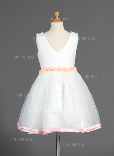 Fashion V-neck A-Line/Princess Flower Girl Dresses Knee-length Organza/Charmeuse Sleeveless (010014664)