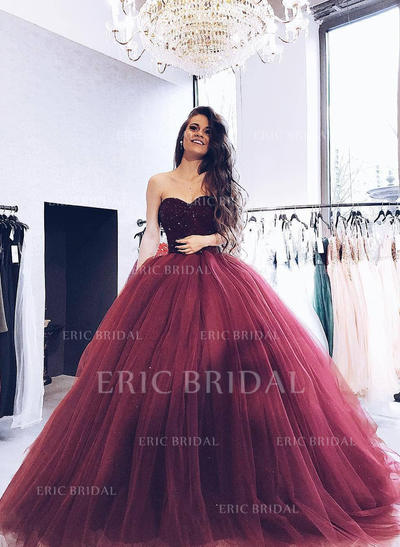 Ball-Gown Sweetheart Sweep Train Prom Dresses With Beading (018219263)