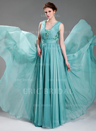 A-Line/Princess V-neck Floor-Length Evening Dresses With Ruffle Beading Appliques Lace (017019725)
