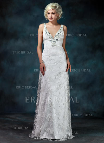 Sheath/Column Sweetheart Watteau Train Wedding Dresses With Ruffle Beading Bow(s) (002000229)