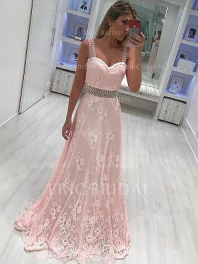 A-Line/Princess Sweetheart Floor-Length Evening Dresses With Sash Beading Appliques Lace (017212126)