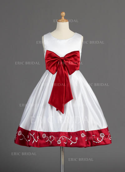 Beautiful Scoop Neck A-Line/Princess Flower Girl Dresses Knee-length Satin Sleeveless (010014596)