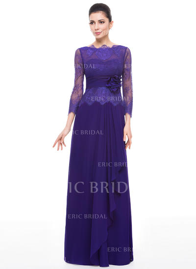 A-Line/Princess Chiffon Lace 3/4 Sleeves Scoop Neck Floor-Length Zipper Up Mother of the Bride Dresses (008211520)