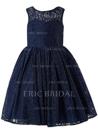 A-Line/Princess Scoop Neck Ankle-length With Bow(s) Lace Flower Girl Dresses (010211807)