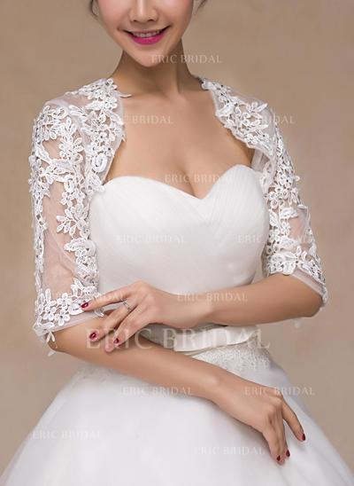 Wrap Wedding Lace Half-Sleeve With Rhinestones Wraps (013149714)