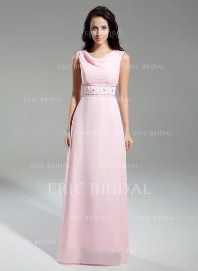 A-Line/Princess Chiffon Sleeveless Cowl Neck Floor-Length Zipper Up Mother of the Bride Dresses (008211371)
