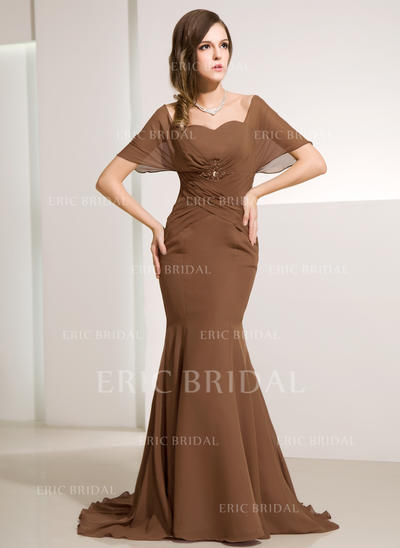 Trumpet/Mermaid Chiffon Short Sleeves Off-the-Shoulder Sweep Train Zipper Up at Side Mother of the Bride Dresses (008211057)