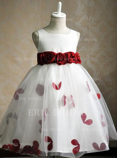 Luxurious Scoop Neck Ball Gown Flower Girl Dresses Knee-length Satin/Tulle Sleeveless (010146826)