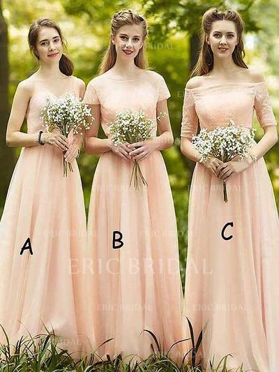 A-Line/Princess Chiffon Bridesmaid Dresses Ruffle Off-the-Shoulder Sleeveless Floor-Length (007211718)