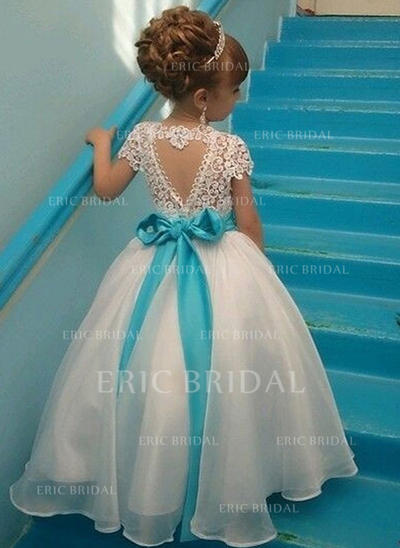 Elegant Scoop Neck A-Line/Princess Flower Girl Dresses Ankle-length Organza/Lace Sleeveless (010210941)