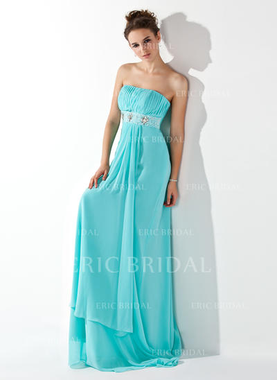 Empire Strapless Sweep Train Evening Dresses With Ruffle Beading (017013773)