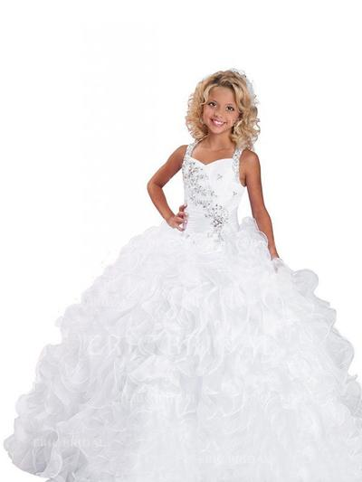 Ball Gown Straps Sweep Train With Beading Organza Flower Girl Dresses (010211756)