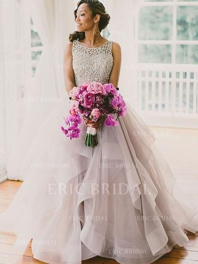 Ball-Gown Scoop Floor-Length Wedding Dresses With Cascading Ruffles (002144816)