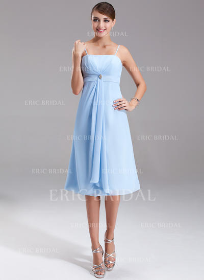 Empire Knee-Length Chiffon Bridesmaid Dress With Crystal Brooch Cascading Ruffles (007001080)