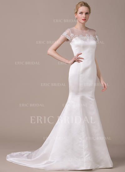Stunning Scoop Trumpet/Mermaid Wedding Dresses Court Train Satin Short Sleeves (002210620)