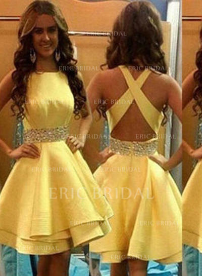 A-Line/Princess Scoop Neck Knee-Length Homecoming Dresses With Flower(s) (022212287)