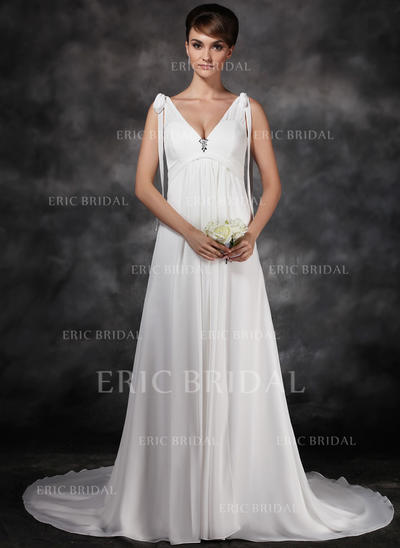 A-Line/Princess Sweetheart Court Train Wedding Dresses With Ruffle Crystal Brooch Bow(s) (002211266)
