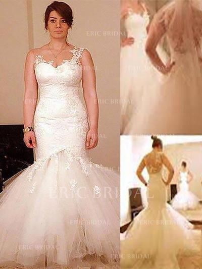 Trumpet/Mermaid Scoop Floor-Length Wedding Dresses With Appliques Lace (002210878)