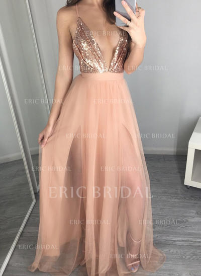 A-Line/Princess V-neck Floor-Length Evening Dresses (017145646)