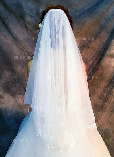 Fingertip Bridal Veils Tulle/Lace One-tier Classic With Lace Applique Edge Wedding Veils (006152343)