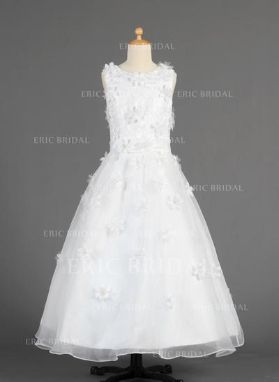 Stunning Scoop Neck A-Line/Princess Flower Girl Dresses Floor-length Organza Sleeveless (010014616)
