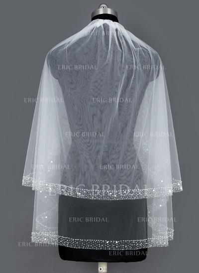 Fingertip Bridal Veils Tulle Two-tier Cascade With Beaded Edge Wedding Veils (006151107)