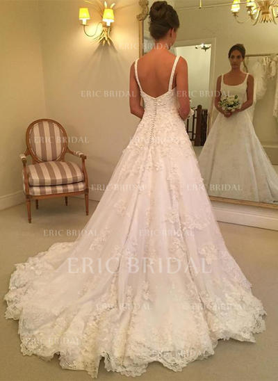 A-Line/Princess Tulle Sleeveless Square Court Train Wedding Dresses (002146925)