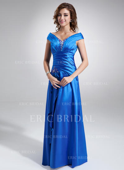 A-Line/Princess Charmeuse Sleeveless Off-the-Shoulder Floor-Length Zipper Up Mother of the Bride Dresses (008006296)