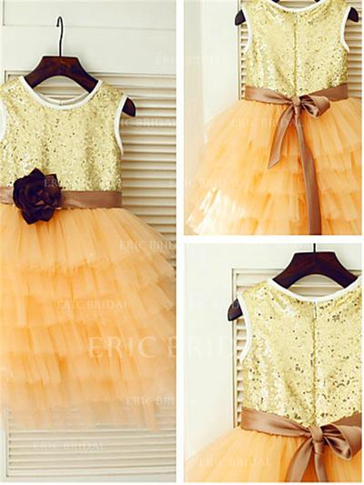 A-Line/Princess Scoop Neck Tea-length With Flower(s) Tulle/Sequined Flower Girl Dresses (010212046)