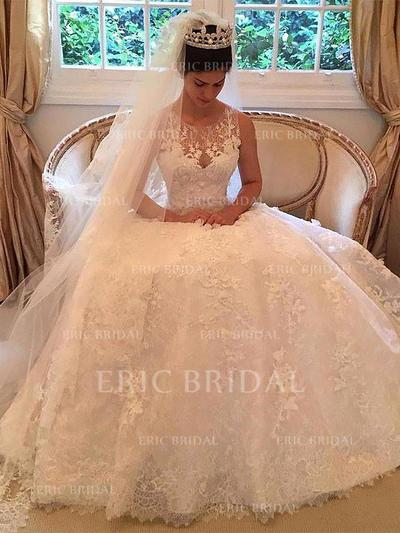 Elegant Scoop A-Line/Princess Wedding Dresses Court Train Tulle Sleeveless (002210846)