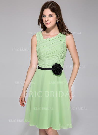A-Line/Princess Chiffon Bridesmaid Dresses Ruffle Sash Flower(s) Sleeveless Knee-Length (007198071)