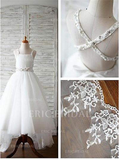 A-Line/Princess Straps Sweep Train With Beading Tulle Flower Girl Dresses (010211780)
