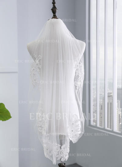 Elbow Bridal Veils Tulle One-tier With Lace Applique Edge With Rhinestones/Lace Wedding Veils (006152515)