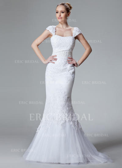 Trumpet/Mermaid Sweetheart Sweep Train Wedding Dresses With Lace Beading (002000438)