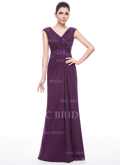 Trumpet/Mermaid Chiffon Sleeveless V-neck Floor-Length Zipper Up Mother of the Bride Dresses (008210604)