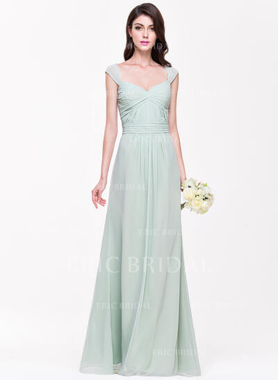 A-Line/Princess Sweetheart Floor-Length Chiffon Bridesmaid Dress With Ruffle (007068367)