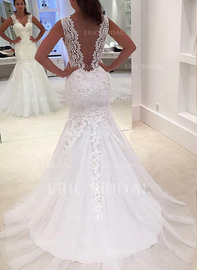 Trumpet/Mermaid Tulle Sleeveless V-neck Court Train Wedding Dresses (002147817)
