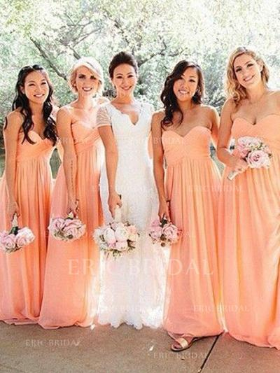 A-Line/Princess Sweetheart Floor-Length Bridesmaid Dresses With Ruffle (007211706)