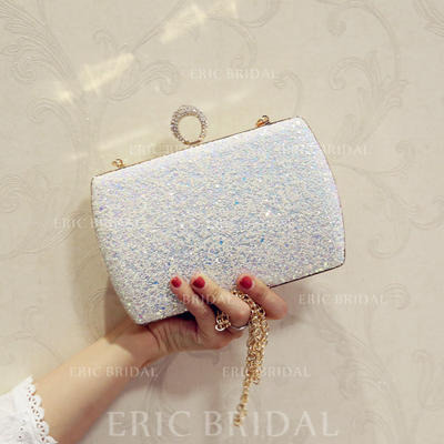 "Clutches/Satchel/Totes Wedding/Ceremony & Party Sequin/Sparkling Glitter/Abrasive Cloth Kiss lock closure 7.87""(Approx.20cm) Clutches & Evening Bags (012187790)"