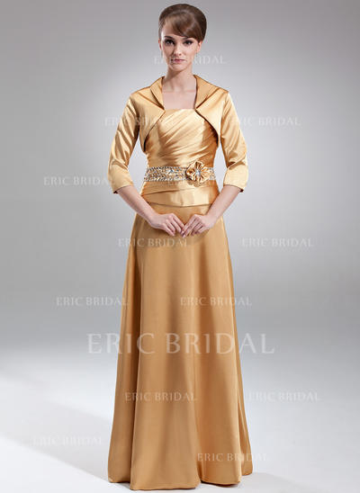 A-Line/Princess Charmeuse Sleeveless Strapless Floor-Length Zipper Up Mother of the Bride Dresses (008211024)