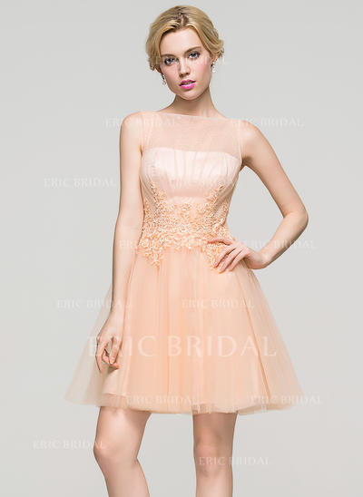A-Line/Princess Scoop Neck Short/Mini Tulle Homecoming Dresses With Ruffle Beading Sequins (022214117)