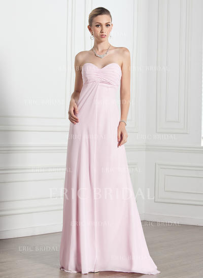 Empire Sweetheart Floor-Length Evening Dresses With Ruffle (017005269)