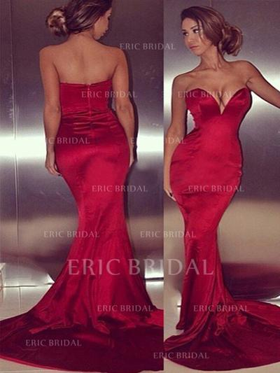 Trumpet/Mermaid Sweetheart Court Train Prom Dresses (018210379)